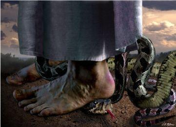 Image result for jesus crushes snake's head