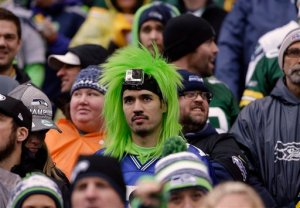 A Seattle Seahawks fan watches during the first half of the NFL football NFC Championship game against the Green Bay Packers Sunday, Jan. 18, 2015, in Seattle. (AP Photo/David J. Phillip)