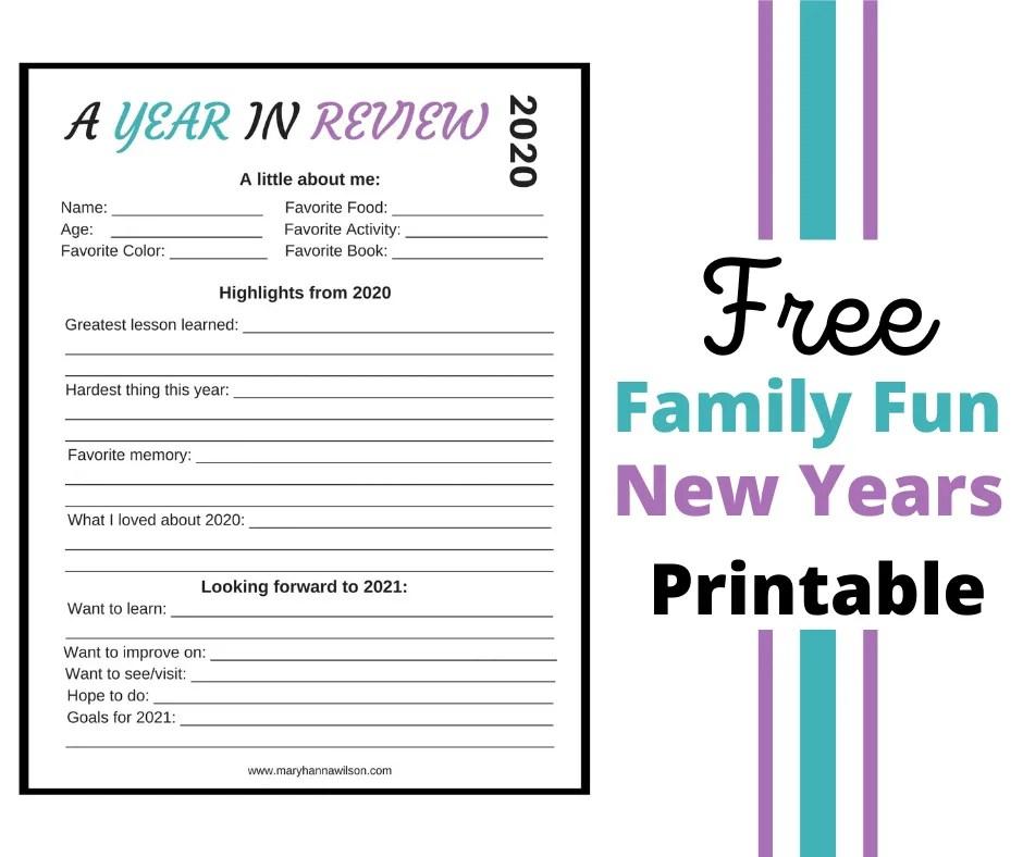 New Years Free Printable