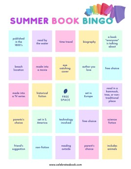 A free printable sheet for summer book bingo for kids.