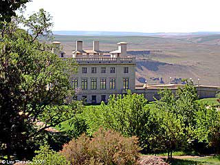 View of Maryhill Museum of Art, the Grand Lawn and grounds from the north.