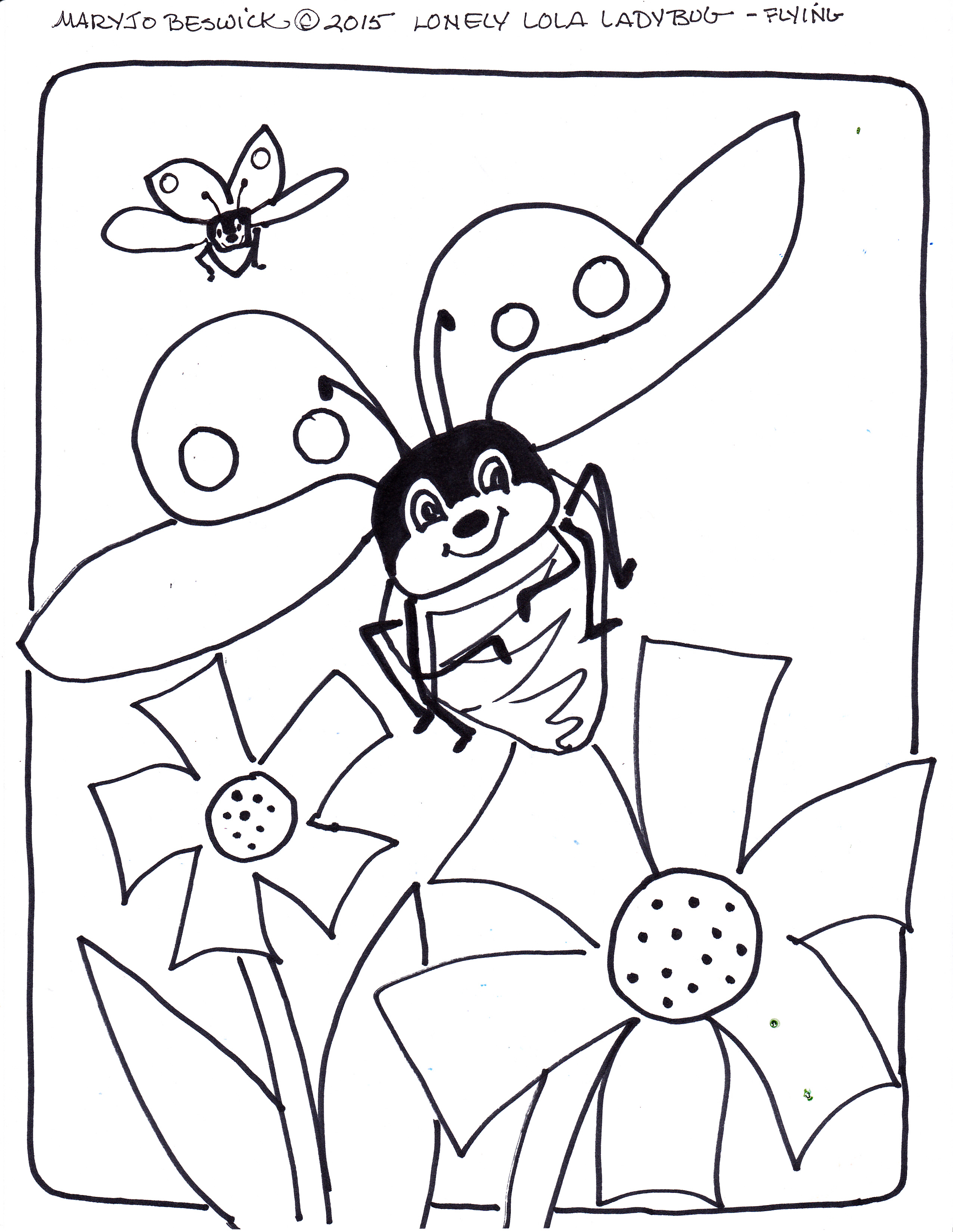 coloring pages of flying ladybugs - photo#5