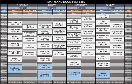 Maryland Doom Fest 2021 Set Schedules
