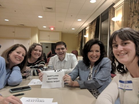 Meet the Women of Ways and Means trivia team (plus Del. Jared Solomon). Left to right: Dels. Alice Cain, Anne Kaiser, Michele Guyton and Julie Palakovich Carr) Photo courtesy of Julie Palakovich Carr