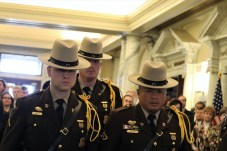 A Maryland State Police honor guard prepares to guard Speaker Michael E. Busch's casket. Photo by Danielle E. Gaines