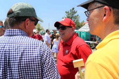 Gov. Lawrence J. Hogan Jr. (R) arrives at the Tawes Crab Feast on Wednesday morning.