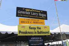 The entrance to lobbyist Bruce Bereano's tent at the Tawes Crab and Clam Feast. Bereano estimated nearly 1,000 people would come through the tent this year.