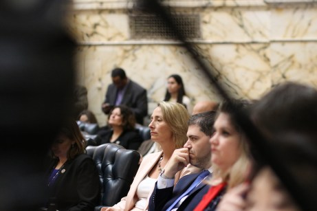 Members of the Montgomery County House delegation listen to the State of the State address on Wednesday. Photo by Danielle E. Gaines.