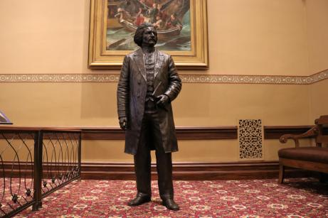 The Frederick Douglass statue in Annapolis stands at just more than 6-feet tall, a representation of Douglass' actual height, which historians gleaned from historical articles of clothing. Photo by Danielle E. Gaines.