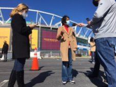 Prince George's County Executive Angela D. Alsobrooks (D) answers questions from reporters at FedEx Field in Landover. Photo by Bruce DePuyt.