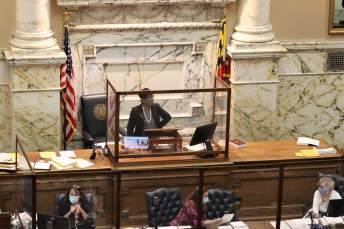 House Speaker Adrienne A. Jones (D-Baltimore County) presides over the chamber on the final day of the 2021 General Assembly session. Photo by Danielle E. Gaines.