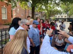 Photojournalist and Capital Gazette shooting survivor Paul Gillespie addressed the media at a news conference Thursday after the jury delivered their verdict. Photo by Hannah Gaskill.