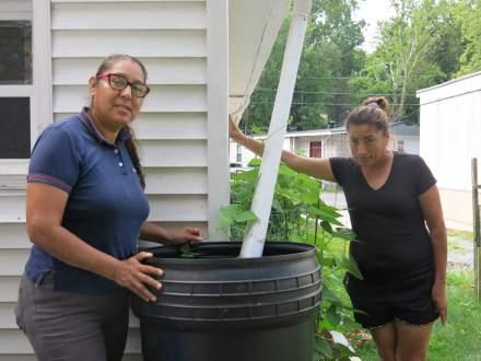 Ana Laura Garcia (left) and Maria Portilla (right) water a neighbor's garden using rainwater collected in a barrel. Garcia heads a tenant association formed to push back against the hike in water services at Middlebrook Mobile Homes in Germantown. Photo by Rosanne Skirble.