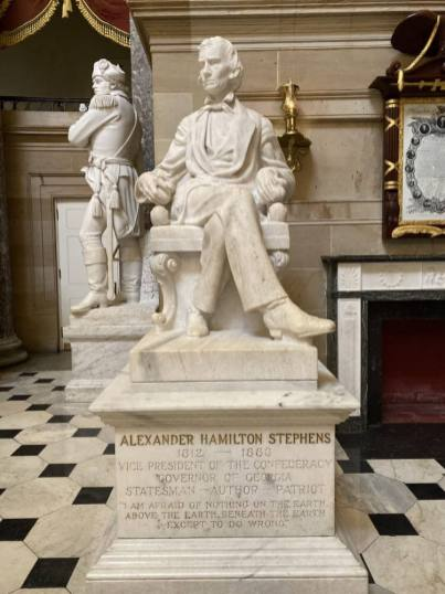 A statue of Confederate Vice President Alexander H. Stephens of Georgia, one of a number of statutes in the United States Capitol Building of Confederates and white supremacists that Democrats are seeking to have removed. Capital News Service photo by Michael Touma.