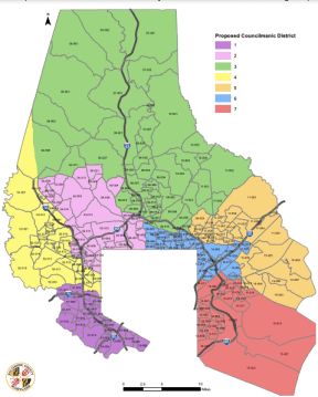 Baltimore County Council maps as approved by the county's redistricting commission. Screenshot from Baltimore County Redistricting Commission report.