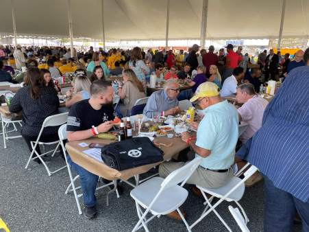 More than 1,200 people were expected to visit a tent hosted by Annapolis lobbyist Bruce C. Bereano during the J. Millard Tawes Clam Bake and Crab Feast. Photo by Bruce DePuyt.