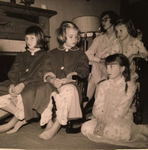 With my mother and sisters at the farm in Alabama, c. 1957: (L-R) Lizzie, Nancy, Frannie with Sarah on her lap, and me