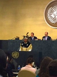 Todadaho Sid Hill, Traditional Chief of the Onondaga Nation, delivering ceremonial welcome to UN Permanent Forum on Indigenous Issues, May 2014