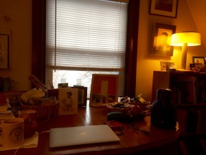 My space on the third floor in Allentown. How can a person write with so much stuff on their desk?