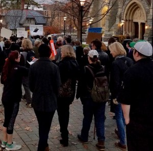 At a demonstration on behalf of Standing Rock Sioux Tribe against Dakota Access Pipe Line, Lehigh University November 2016