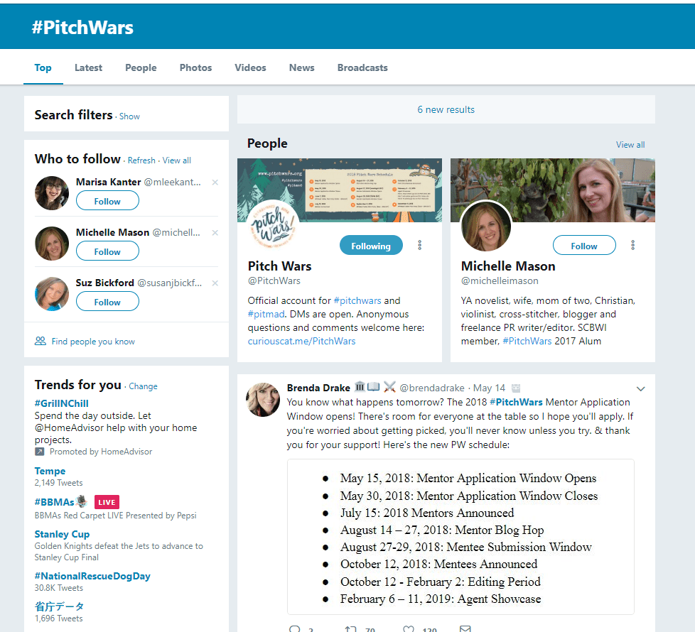 PitchWars hashtag
