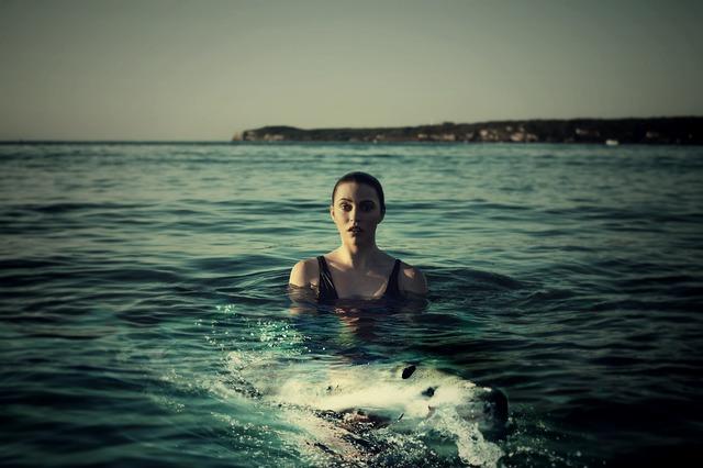 woman, sea, hai