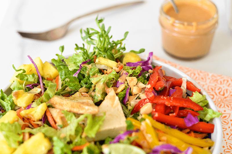 Crunchy Chopped Salad with Lemongrass Tofu & Peanut Dressing