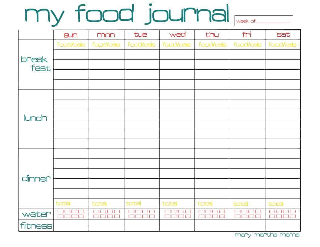 Free Food Journal Printable Healthy Mama Week 29 Mary Martha Mama