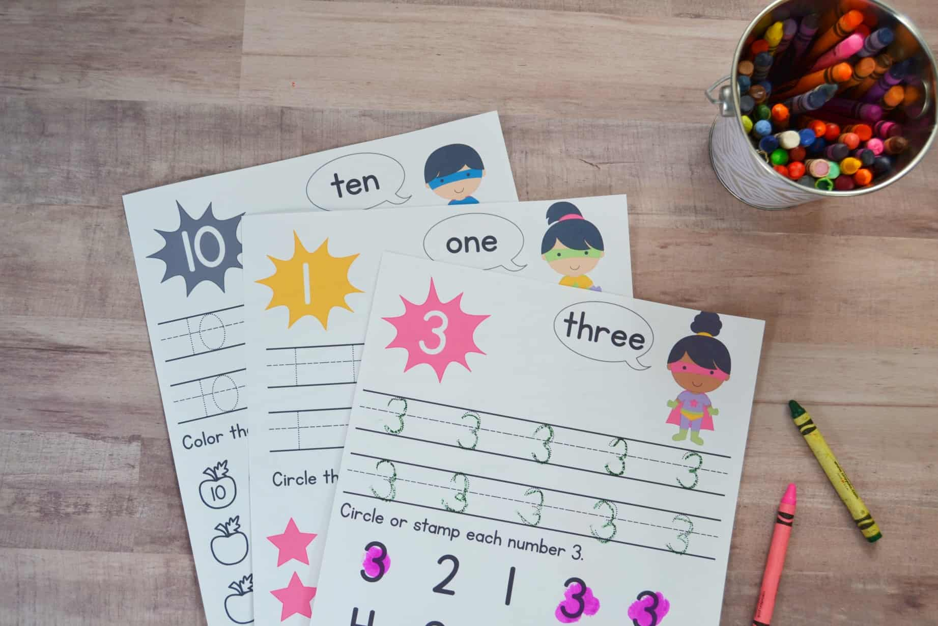 Super Hero Preschool Number Worksheets Numbers 1 10
