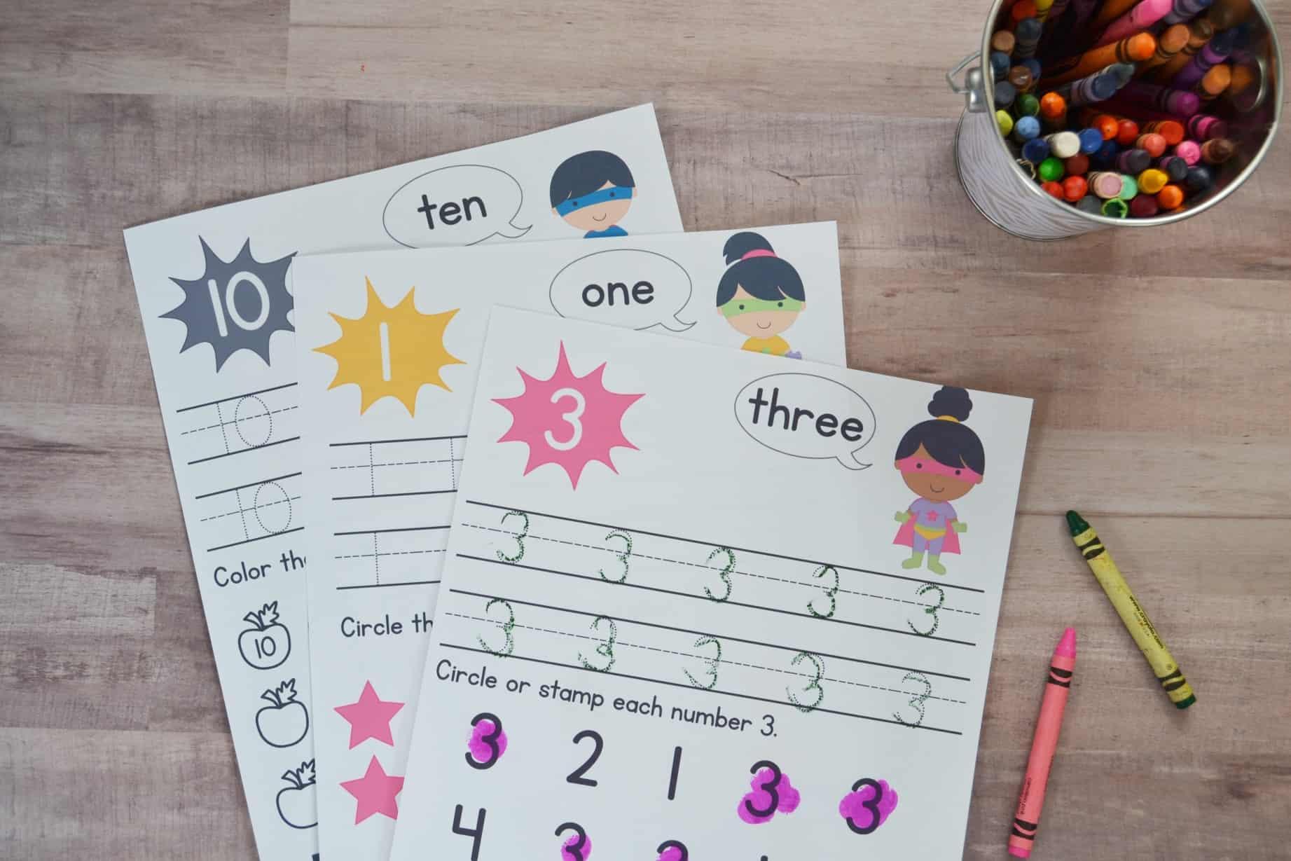 Super Hero Preschool Number Worksheets Numbers 1 10