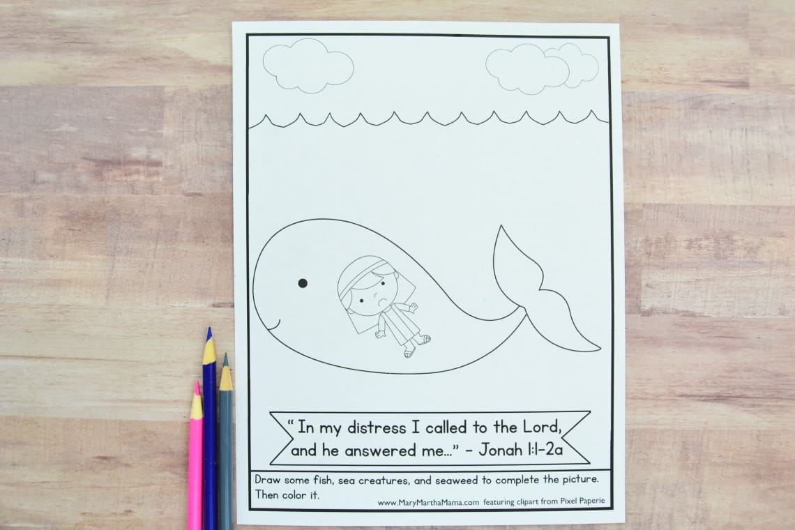 Jonah And The Whale Coloring Page Free Printable Mary Martha Mama