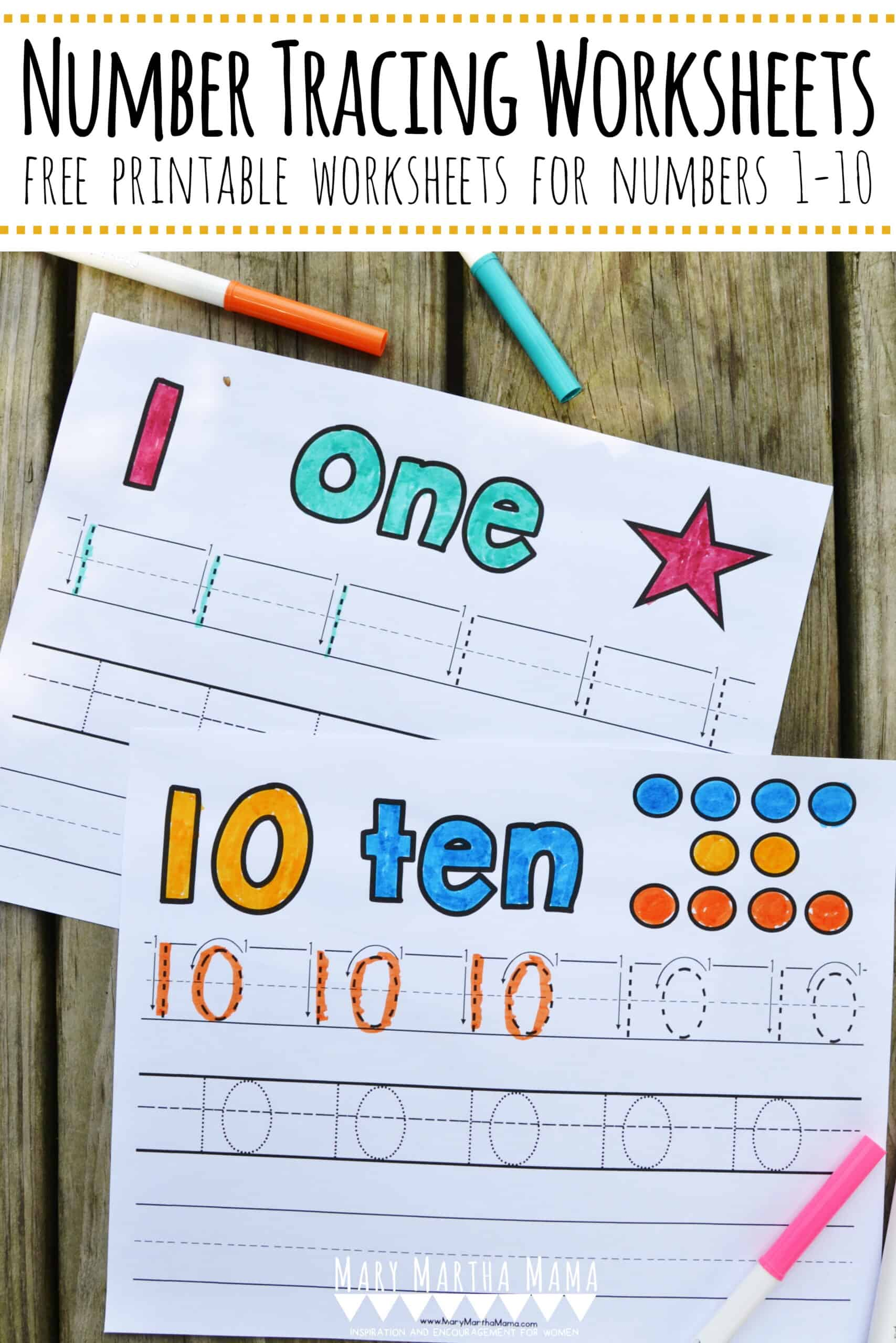 Number Tracing Worksheets 1 10 Mary Martha Mama
