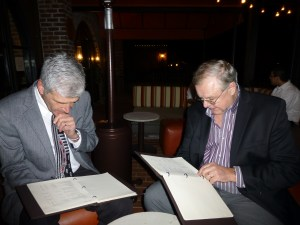 John and George peruse the wine list