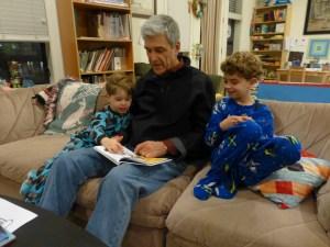 Zayde, Nathan and Sam enjoy a quiet read