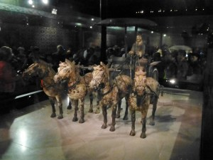 Half-size jade horses and carriage