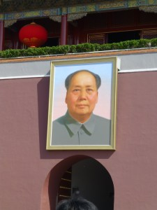 Painting of Mao on government building freshly painted every year