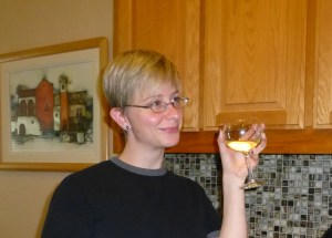 Sarah enjoys a Labor Day glass of wine.