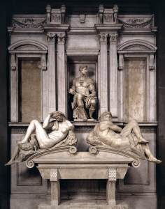 Guiliano Medici's tomb with Michelangelo's Night and Day plus idealized Giuliano