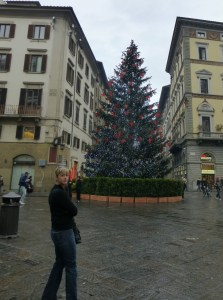 Sarah  and the large Christmas tree in the square