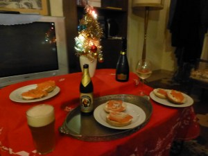 Bagels and lox, beer and prosecco