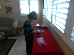 Nathan playing with Legos