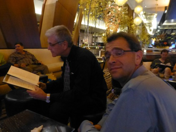 Jon's trip ends with a trip to Las Vegas. Here the guys peruse the bar menu before dinner.