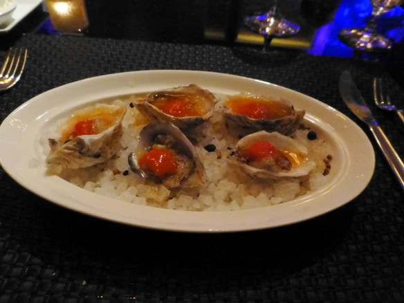 John has Vancouver Island Kushi Oysters with piquillo pepper and tabasco sorbet and aged tequila mignonette