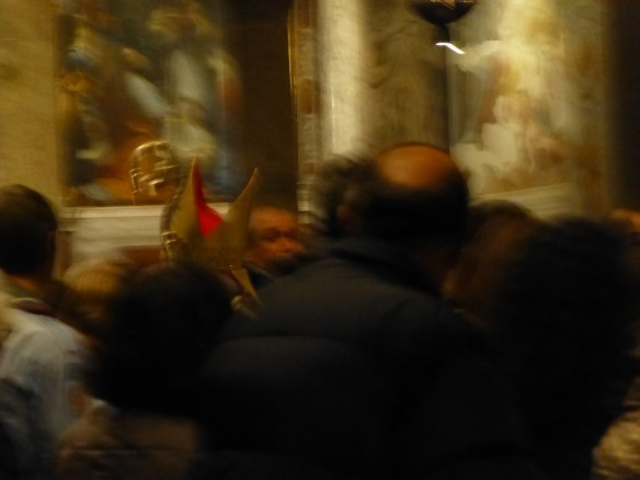 Blurry shot of the bishop after mass