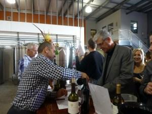 "Our friend, Philippe, pours John a glass of Stone Edge Farm's ""Surround"""