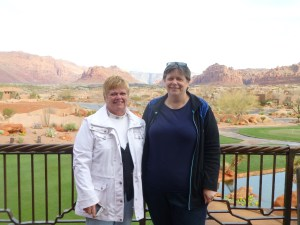 Peg and Phyllis at Entrada with Snow Canyon in background