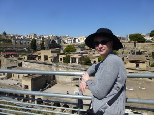 Sarah overlooking the ruins at Herculaneum