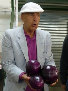 "Round light purple eggplants from Sicily. ""Not bitter"" says Aurelio so there is no need to salt them."