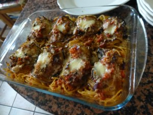 Spaghetti and eggplant involtini