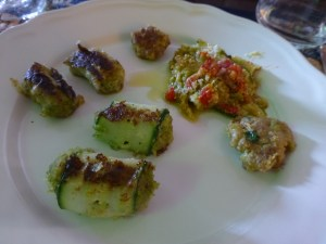 Our plate also includes ground meat inside of zucchini  and eggplant strips